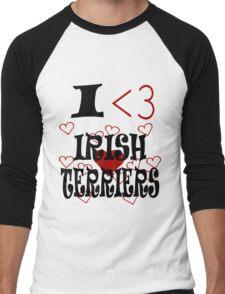 I <3 Irish Terriers Men's Baseball ¾ T-Shirt