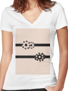 Polka Dots and Flowers Women's Fitted V-Neck T-Shirt