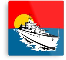 World War Two Battleship Warship Cruiser Retro Metal Print