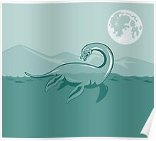 Loch Ness Monster Retro Poster