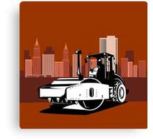 Road Roller Retro Canvas Print