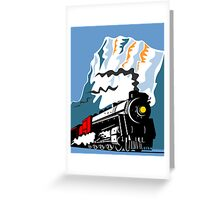 Vintage Steam Train Locomotive Retro Greeting Card