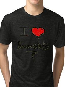 I love Halloween Broomsticks  Witches  Tri-blend T-Shirt