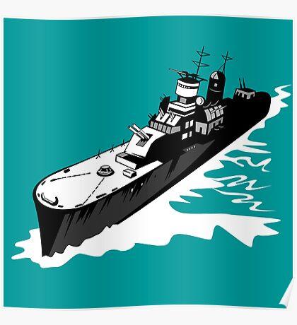 World War Two Battleship Warship Cruiser Retro Poster