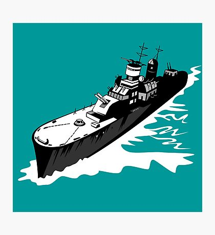 World War Two Battleship Warship Cruiser Retro Photographic Print