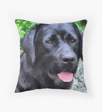 Black Lab - Rizzo Throw Pillow