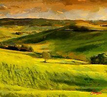 Painting with Green Plains by DiNovici