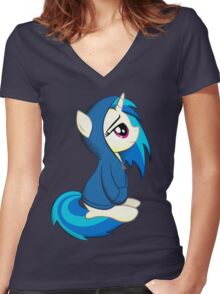 Vinyl Scratch - Lost in Thought Women's Fitted V-Neck T-Shirt
