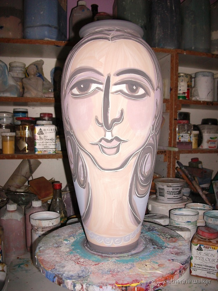 large unfired vase by catherine walker