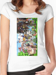Studio Ghibli Characters 2 Women's Fitted Scoop T-Shirt