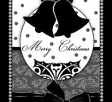 Stylish Black And White Christmas Card With Bells And Bow by Moonlake