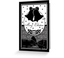 Stylish Black And White Christmas Card With Bells And Bow Greeting Card