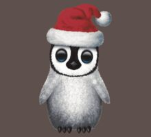Baby Penguin Wearing a Santa Hat on Blue Baby Tee