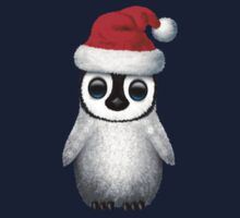 Baby Penguin Wearing a Santa Hat on Blue One Piece - Short Sleeve
