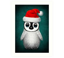 Baby Penguin Wearing a Santa Hat on Blue Art Print