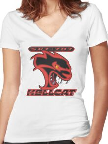 Hellcat - Red & Black Women's Fitted V-Neck T-Shirt