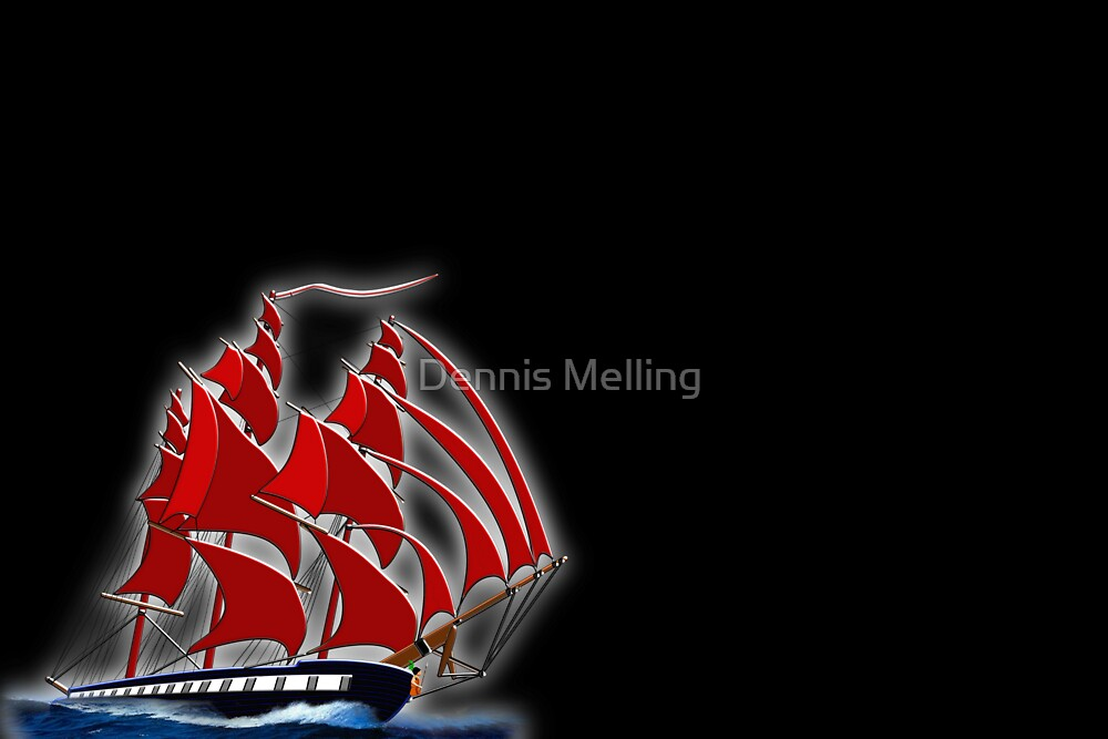 Clipper Ship Indian Queen on black by Dennis Melling