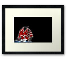 Clipper Ship Indian Queen on black Framed Print