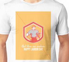 Labor Day Greeting Card Builder Carpenter Hammer Shield Unisex T-Shirt