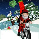 Motorbike Santa With Flying Gifts And Winter Scenery - Motorcycle by Moonlake