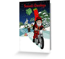 Motorbike Santa With Flying Gifts And Winter Scenery - Motorcycle Greeting Card