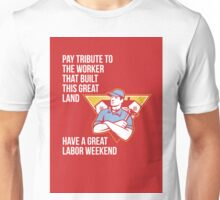 Labor Day Greeting Card Builder Hammer Houses Shield Unisex T-Shirt