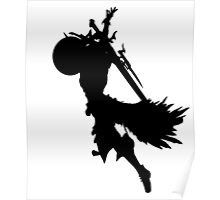 Black & White Final Fantasy XIII Lightning Silhouette Poster