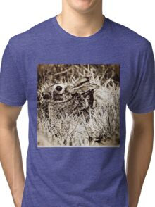 Cottontail Rabbit, Bunny, in Grass, Sepia, Grunge Tri-blend T-Shirt