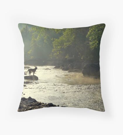 With my best friend... Throw Pillow
