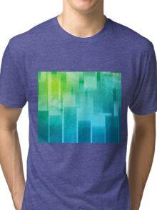 Cool stripes in cyan and green minimalist design Tri-blend T-Shirt