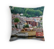 Buildings on Stilts, Bergen, Norway Throw Pillow