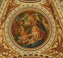 Painting at the ceiling Basilica Saints Agatha and Barbara by Jacqueline van Zetten