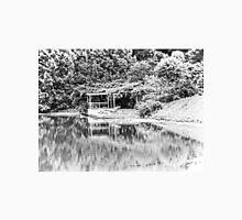 Dock on Water, Trees, Tilt-Shift, Black and White Unisex T-Shirt