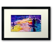 Abstract sunset at sea, watercolor Framed Print