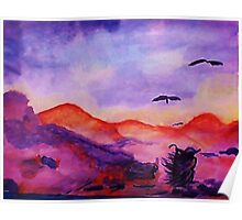Shepardess hurrying home before storm, watercolor Poster