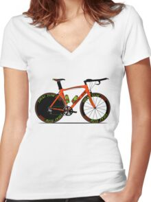 Time Trial Bike Women's Fitted V-Neck T-Shirt