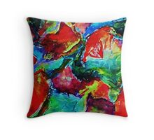 Colorful Fall leaves, watercolor Throw Pillow