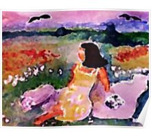 Lounging on the cliff in flowers, watercolor Poster