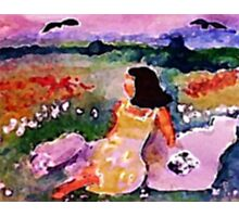 Lounging on the cliff in flowers, watercolor Photographic Print