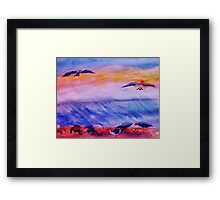 Seagulls in the surf, watercolor Framed Print