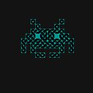 Cyan Space Invader Celtic Knot on Black by Dancingrat