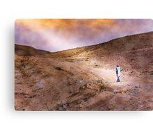 Jewish prayer in the desert wearing a tallit Canvas Print