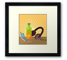 Mobile Phone Soda Drink Headphone Retro Framed Print
