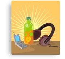 Mobile Phone Soda Drink Headphone Retro Canvas Print