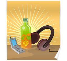 Mobile Phone Soda Drink Headphone Retro Poster