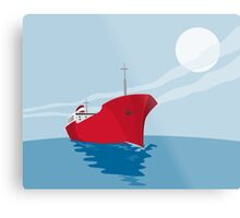 Container Ship Cargo Boat Retro Metal Print