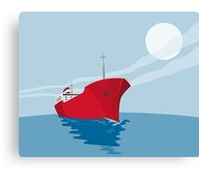 Container Ship Cargo Boat Retro Canvas Print