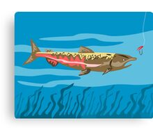 Trout Fish Retro Canvas Print