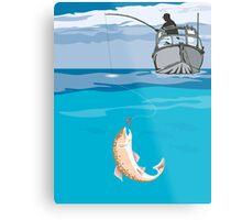 Fisherman Fishing Trout Fish Retro Metal Print
