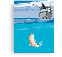 Fisherman Fishing Trout Fish Retro Canvas Print